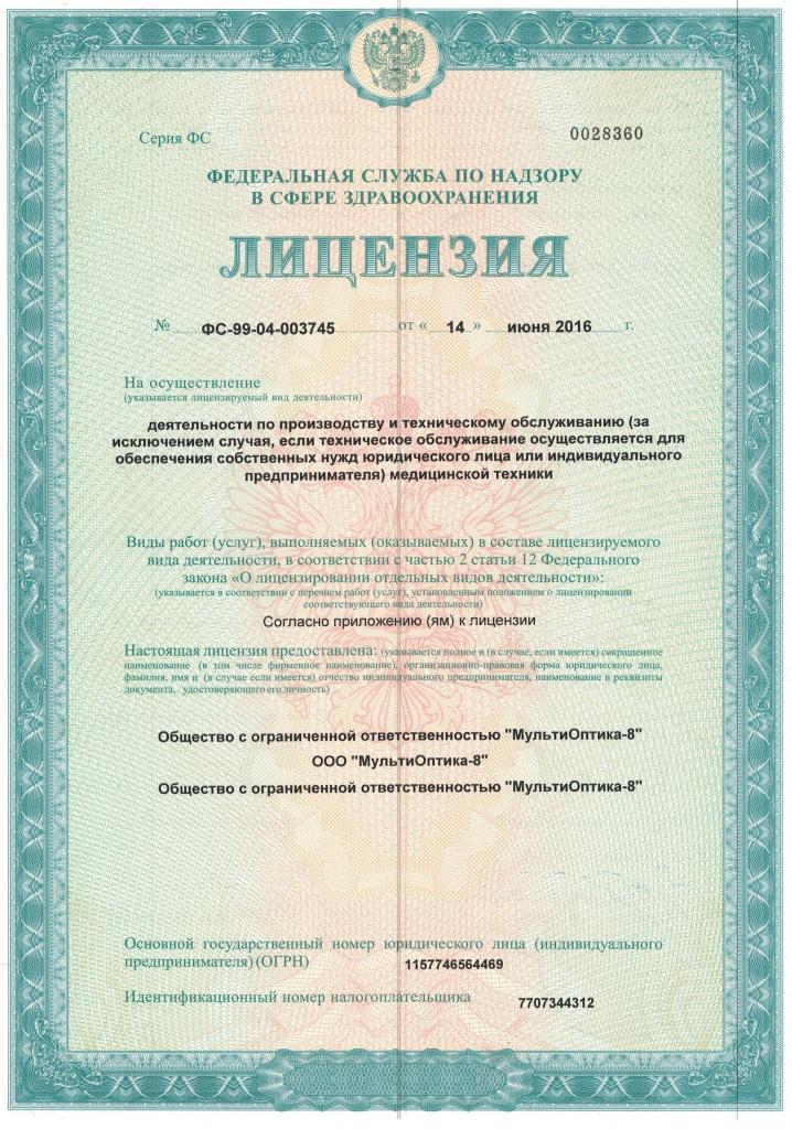 лицензия на мастерскую